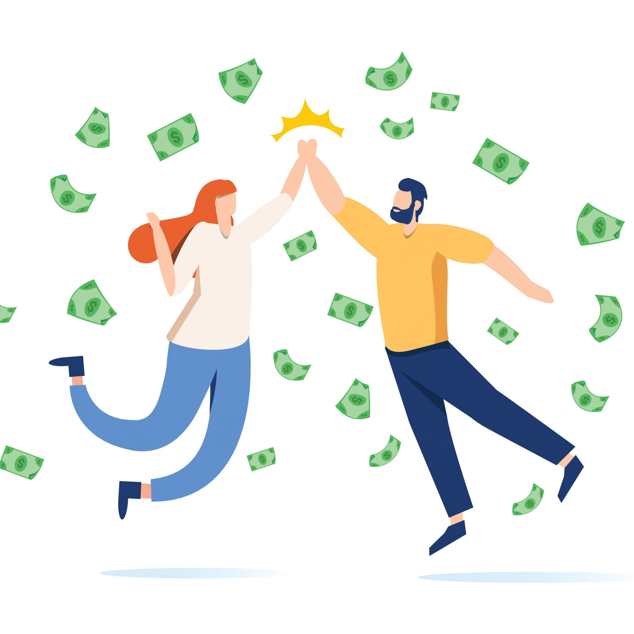 Money Lane flies and two business people jump and do a high five. Modern style vector design illustrations. Business concept. Team metaphor. People giving high five. Vector illustration flat design